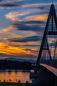 Sunset on Megyeri bridge, Budapest